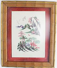 CHINESE FRAMED HANDPAINTED IVORY PLAQUE