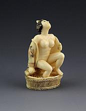 JAPANESE CARVED IVORY NETSUKE BATHING GEISHA