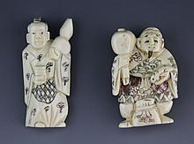 (2) CARVED IVORY NETSUKE FIGURES