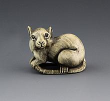 ANTIQUE JAPANESE IVORY NETSUKE RAT