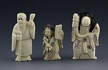 (3) CARVED IVORY NETSUKE FIGURES