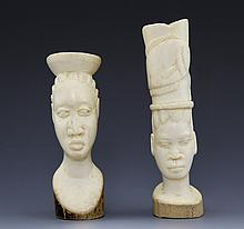 PAIR OF CARVED IVORY TRIBAL AFRICAN BUSTS