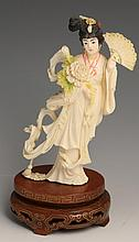 LATE 19TH C CHINESE IVORY POLYCHROME BEAUTY W/FAN