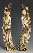 PAIR OF 19th C. CHINESE CARVED IVORY BEAUTIES