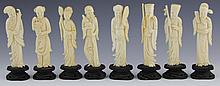 CHINESE CARVED IVORY SET OF EIGHT IMMORTALS BAXIAN