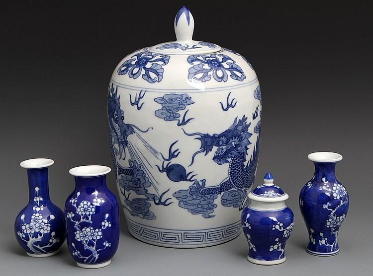 CHINESE PORCELAIN GINGER JAR AND SMALL VASES