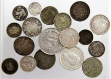 (18) MIXED WORLD SILVER COINS