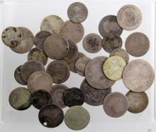 (33) LATE 19TH C SPANISH COLONIAL SILVER REALES