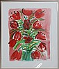 GLORIA VANDERBILT RED TULIP I ORIGINAL WATERCOLOR