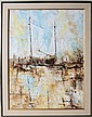 O WALTHER HARBOR SCENE OIL ON CANVAS