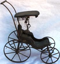 19TH C CHILD'S DOLL CARRIAGE WITH SURREY TOP
