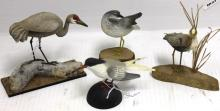 4 CARVED AND PAINTED MINIATURE BIRDS BY SPARRE,