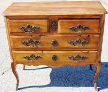 18TH C FRENCH FRUITWOOD COMMODE, BRASS HARDWARE