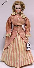 19TH C FRENCH FASHION DOLL, FIXED BLUE EYES,