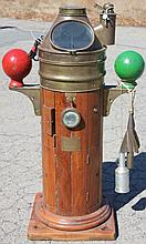 EARLY 20TH C BRASS AND WOODEN BINNACLE FROM THE