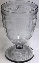 UNUSUAL ENGRAVED HEISEY GLASS COMPOTE WITH