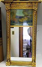 EARLY 19TH C FEDERAL TWO-PART MIRROR WITH LATER