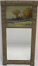 ANTIQUE TWO-PART MIRROR WITH INSET PAINTED PANEL