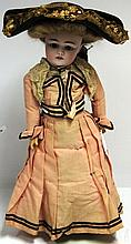 19TH C KESTNER BISQUE HEAD DOLL, INCISED MARK