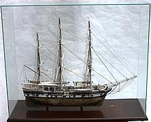 CONTEMPORARY SHIP MODEL IN CUSTOM GLASS CASE OF