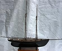 LATE 19TH C WOODEN SHIP MODEL OF 2 MASTED SCHOONER
