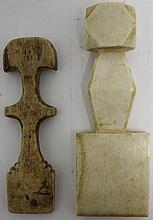 2 ANTIQUE 19TH C WHALEBONE SEAM RUBBERS; ONE