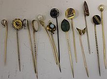 LOT OF 13 STICKPINS; TEN EITHER MARKED OR TESTED