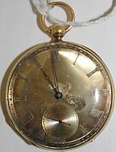 ANTIQUE GENTLEMEN'S 18K GOLD POCKET WATCH; KEY