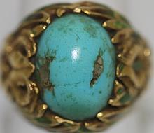 MARCUS & CO. 18K GOLD AND TURQUOISE ART NOUVEAU