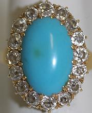 ANTIQUE 18K (UNMARKED) YELLOW GOLD, TURQUOISE