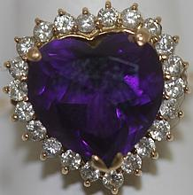 18K GOLD, AMETHYST AND DIAMOND HEART RING SET WITH