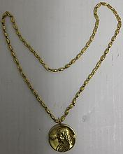 18K GOLD RELIGIOUS MEDALLION ON 18K NECK CHAIN;