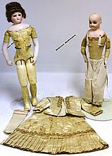 LOT OF TWO FRENCH FASHION DOLLS, BISQUE HEADS,