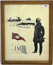 FRAMED, HAND COLORED ADVERTISEMENT FOR WHALING