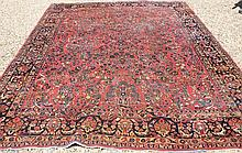 CA 1920 RED SAROUK CARPET OVERALL FLORAL DESIGN;