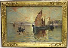 FRAMED OIL PAINTING ON CANVAS VENETIAN SEASCAPE