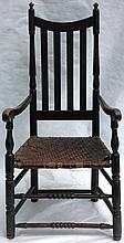 18TH C YOKE BANNISTER BACK ARM CHAIR WITH TURNED