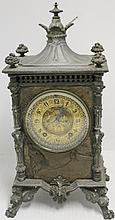 EXCEPTIONAL EMBOSSED METAL MANTEL CLOCK, GILDED
