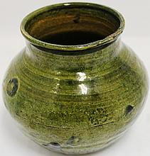 EARLY REDWARE POT WITH GREEN GLAZE; MINOR