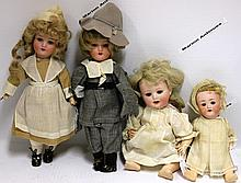 FOUR HEUBACH DOLLS, PAIR OF BISQUE HEAD