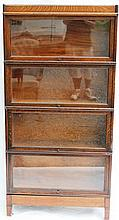 EARLY 20TH C OAK 4 STACK BARRISTER BOOKCASE