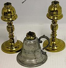 3 19TH C WHALE OIL LAMPS; 2 ARE BRASS; 7