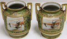 PAIR OF NIPPON DOUBLE HANDLED VASES; SCENIC