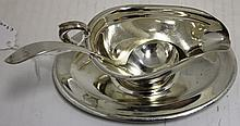 STERLING SILVER MINIATURE SAUCE BOAT AND