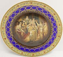 ROYAL VIENNA CABINET PLATE, COBALT AND GILT BORDER