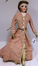19TH C FRENCH FASHION DOLL, FIXED BROWN EYES,
