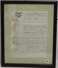1838 FRAMED SHIPPING DOCUMENT FOR  BRIG PATAPSCO