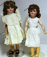 TWO SIMON & HALBIG BISQUE HEAD DOLLS,