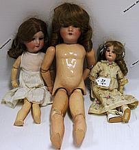 THREE ARMAND MARSEILLE BISQUE HEAD DOLLS,