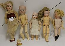 FIVE GERMAN BISQUE HEAD DOLLS, ONE LHK